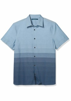 Perry Ellis Men's Ombre Engineered Stripe Short Sleeve Button-Down Shirt  XX Large
