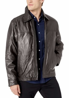 Perry Ellis Men's Open Bottom Leather Jacket