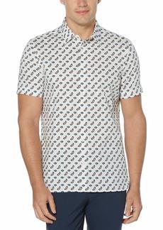 Perry Ellis Men's Big & Tall Paisley Print Stretch Short Sleeve Button-Down Shirt  3X Large
