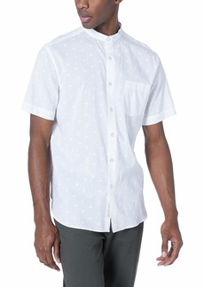 Perry Ellis Men's Palm Printed Soft Shirt Bright White-4ESW7046