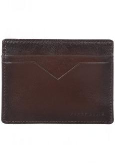 Perry Ellis Men's Perry Ellis Portfolio Card Holder With A Sliver Tone Logo Silver Card Holder/brown