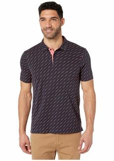 Perry Ellis Men's Pima Cotton Diagonal Line Polo Shirt cranberry-4EMK7704
