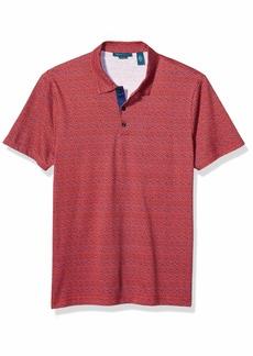 Perry Ellis Men's Pima Cotton Mini Floral Print Polo Aurora Red-4ESK7163