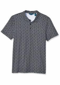Perry Ellis Men's Pima Cotton Print Polo Dark Sapphire-4ESK7162 Extra Large