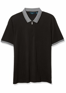Perry Ellis Men's Pima Cotton Tipped Collar Short Sleeve Quarter Zip Polo Shirt  X Large