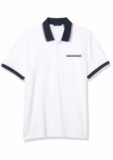 Perry Ellis Men's Pique Chest Pocket Short Sleeve Polo Shirt  XX Large
