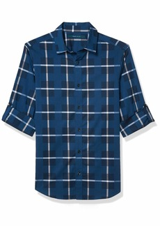 Perry Ellis Men's Plaid Dobby Untucked Roll Sleeve Button-Down Shirt  X Large