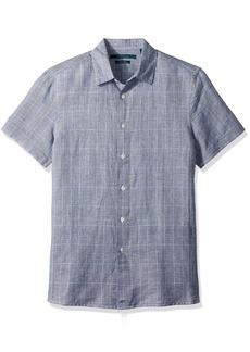 Perry Ellis Men's Plaid Linen Cotton Shirt