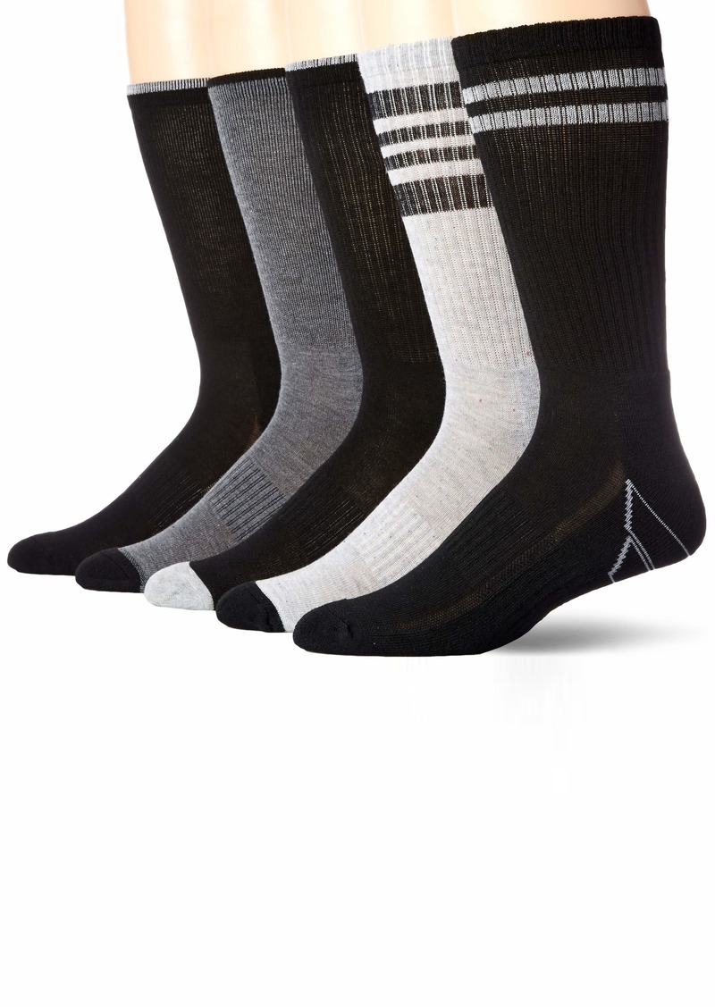 Perry Ellis Men's Portfolio 5 PK Casletic Stripe Crew Socks GRY/black
