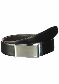Perry Ellis Men's Portfolio Nickle Finish Plaque Reversible Belt black/Brown