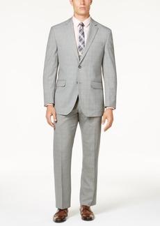 Perry Ellis Men's Portfolio Modern-Fit Comfort Stretch Light Gray Fine Plaid Suit