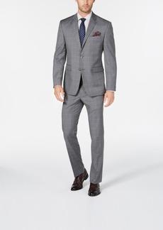 Perry Ellis Men's Portfolio Slim-Fit Stretch Light Gray Windowpane Suit