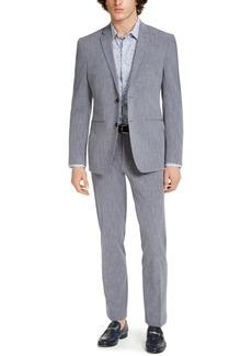 Perry Ellis Men's Premium Slim-Fit Stretch Textured Grid Tech Suit, Machine Washable