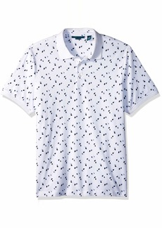 Perry Ellis Men's Printed Polo Knits Bright White Extra Large