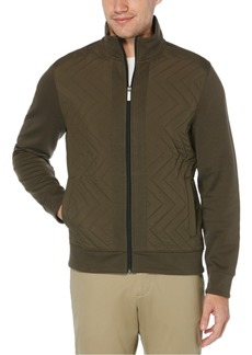 Perry Ellis Men's Quilted Chevron Quarter-Zip Shirt