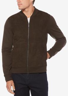 Perry Ellis Men's Quilted Faux-Suede Full-Zip Jacket