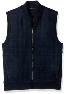 Perry Ellis Men's Quilted Faux Suede Vest  Extra Large