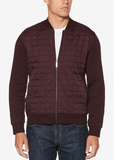 Perry Ellis Men's Quilted Ponte-Knit Full-Zip Sweater
