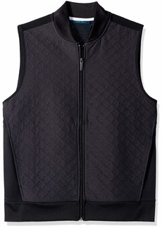 Perry Ellis Men's Quilted Zip-Front Vest Black/DFK