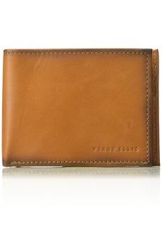 Perry Ellis Men's RFID Burnished Bifold Wallet tan 1sz