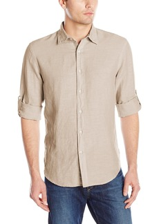 Perry Ellis Men's Rolled-Sleeve Solid Linen Cotton Shirt Natural Linen-44SW9067 Extra Large