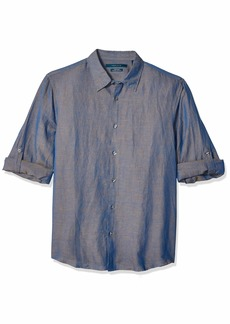 Perry Ellis Men's Rolled-Sleeve Solid Linen Cotton Button-Up Shirt  XX Large