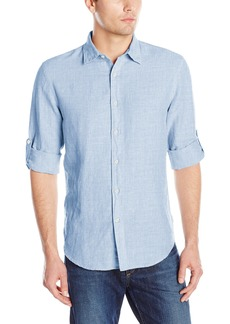 Perry Ellis Men's Rolled-Sleeve Solid Linen Cotton Button-Up Shirt Colony Blue-44SW9067 Extra Large