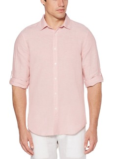 Perry Ellis Men's Rolled-Sleeve Solid Linen Cotton Button-Up Shirt Himalayan Pink-4DSW4021 Extra Extra Large