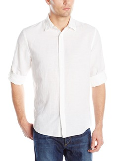 Perry Ellis Men's Rolled Sleeve Solid Linen Cotton Shirt Bright White