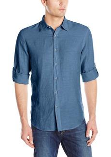 Perry Ellis Men's Rolled Sleeve Solid Linen Cotton Shirt Delft