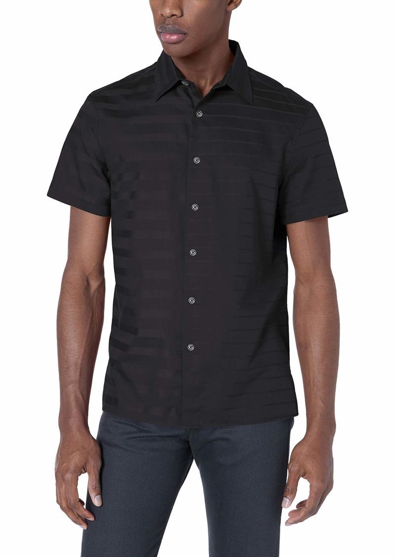 Perry Ellis Men's Sateen Engineered Stripe Shirt black-4ESW7032 Extra Extra Large