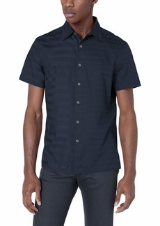 Perry Ellis Men's Sateen Engineered Stripe Shirt Dark Sapphire-4ESW7032