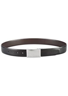 Perry Ellis Men's Shiny Leather Reversible Plaque Belt