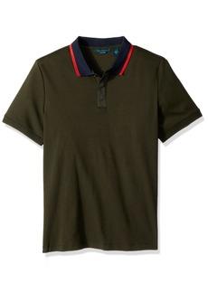 Perry Ellis Men's Short Sleeve Contrast-Collar Pima Cotton Polo