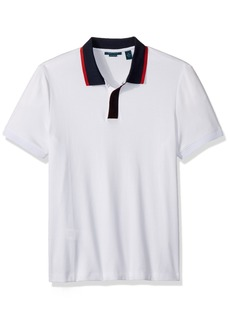 Perry Ellis Men's Short Sleeve Contrast-Collar Pima Cotton Polo
