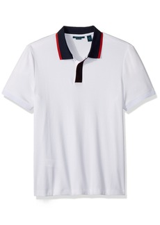 Perry Ellis Men's Short Sleeve Contrast-Collar Pima Cotton Polo  Extra Large