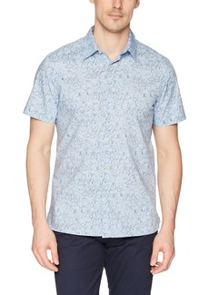 Perry Ellis Men's Short Sleeve Floral Print Shirt Kentucky blue-4DSW7032 Extra Large