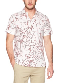 Perry Ellis Men's Short Sleeve Floral Print Shirt Molten lava-4DSW7072 Extra Extra Large