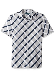 Perry Ellis Men's Short Sleeve Graphic Linear Print Shirt Alloy-4CMW7001