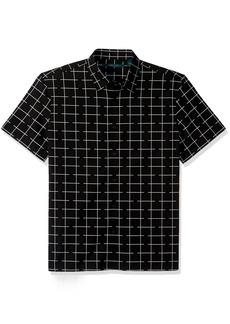 Perry Ellis Men's Short Sleeve Graphic Linear Print Shirt Black-4CSW7025