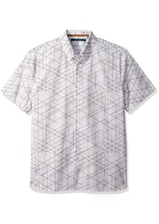 Perry Ellis Men's Short Sleeve Graphic Linear Print Shirt Bright White-4CSW7012 Extra Large