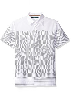Perry Ellis Men's Short Sleeve Graphic Linear Print Shirt  Bright White-4CSW7027 Extra Extra Large
