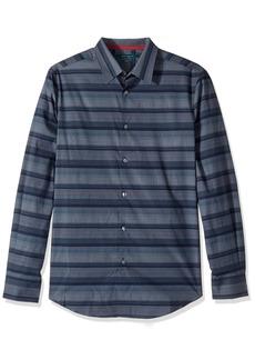 Perry Ellis Men's Short Sleeve Horizontal Multi-Color Stripe Shirt