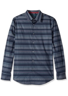 Perry Ellis Men's Short Sleeve Horizontal Multi-Color Stripe Shirt  Extra Large