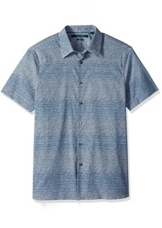 Perry Ellis Men's Short Sleeve Modern Geo Print Shirt  Bright sapphire-4DSW7033