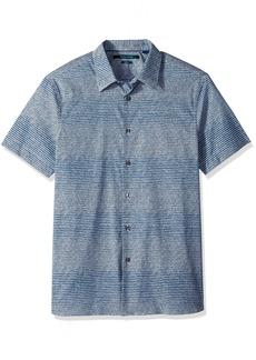 Perry Ellis Men's Short Sleeve Modern Geo Print Shirt Bright sapphire-4DSW7033