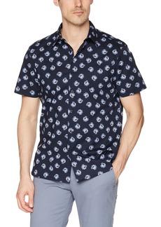 Perry Ellis Men's Short Sleeve Modern Geo Print Shirt Dark Sapphire-4DSW7025