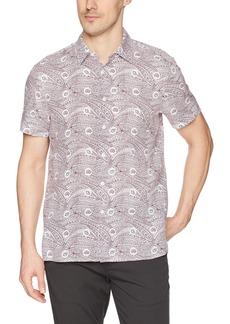 Perry Ellis Men's Short Sleeve Printed Linen Shirt Rhododendron-4DSW7085