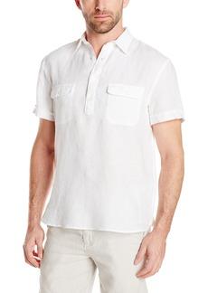 Perry Ellis Men's Short Sleeve Solid Linen Popover Shirt Bright White