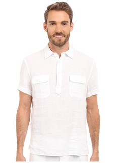 Perry Ellis Men's Short Sleeve Solid Linen Popover Shirt Bright White